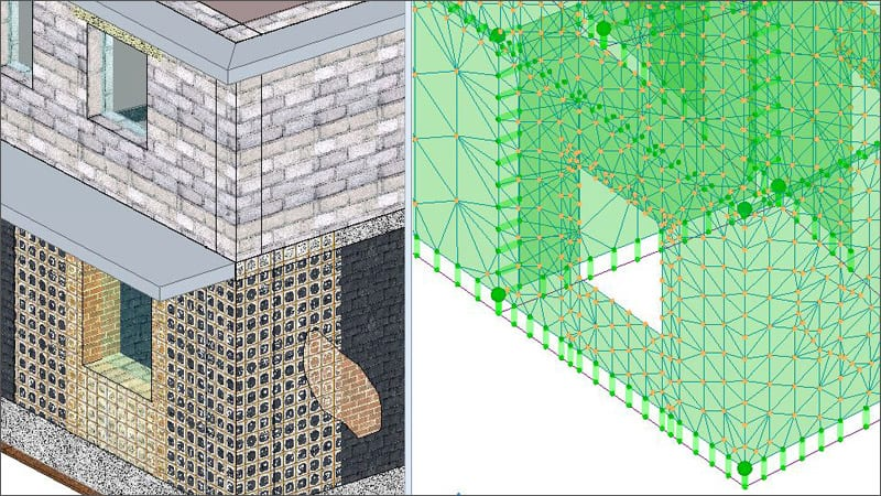 Modeling and verification of masonry buildings