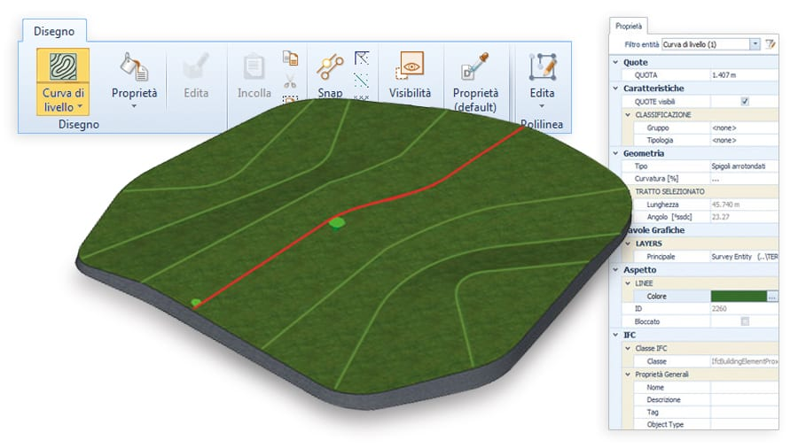Model your terrain from DXF/DWG - Edificius LAND - ACCA software