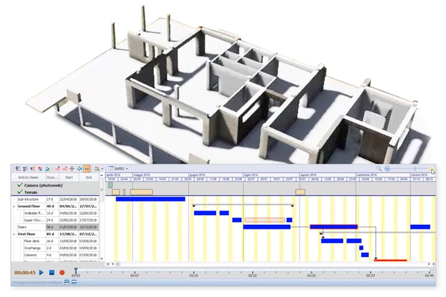 check out various overlays and scenarios of 4D BIM model - Edificius - ACCA software