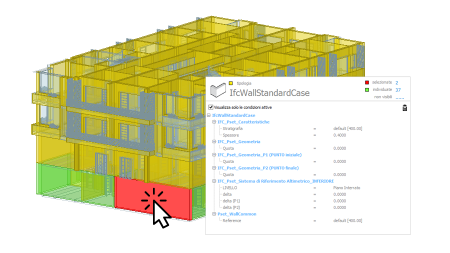 Selecting entities in the BIM model - PriMus IFC - ACCA software