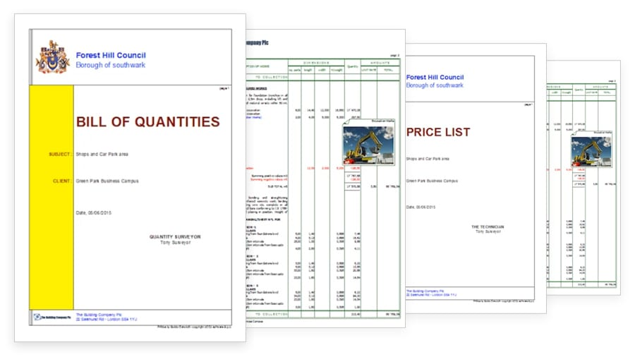 Cost estimate documents - PriMus - ACCA software