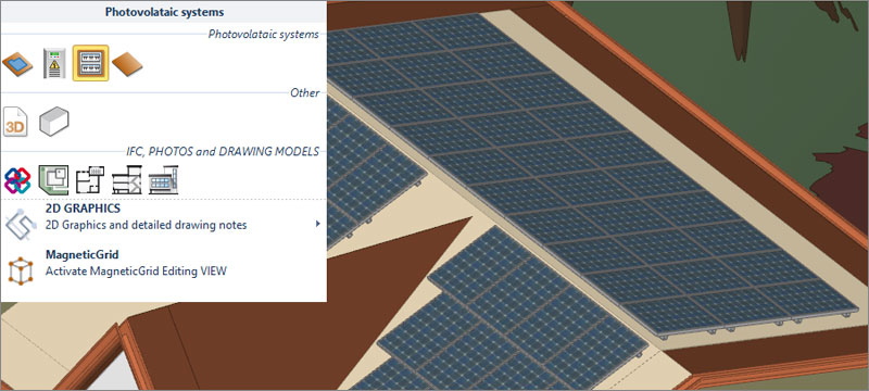 3D input to model the photovoltaic system - Solarius PV - ACCA software