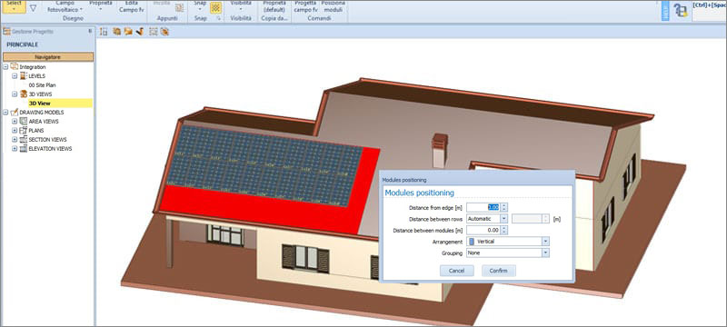 Assisted design of the photovoltaic field - Solarius PV - ACCA software