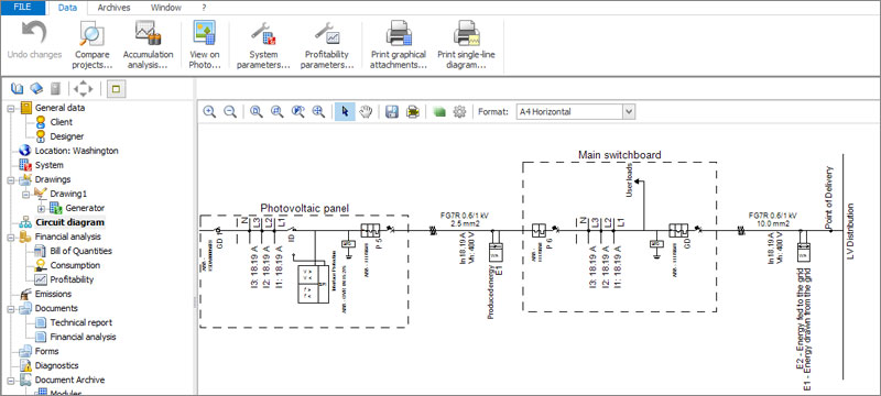 System single-line wiring diagram - Solarius PV - ACCA software