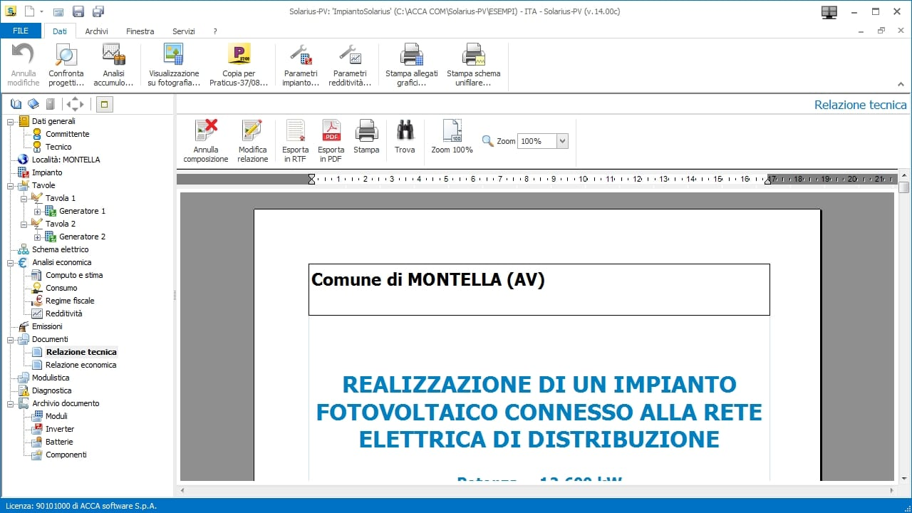 Technical report of a photovoltaic system