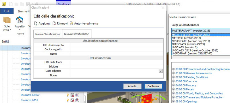 Change existing properties and assign most common classification schemes - usBIM.viewer+ - ACCA software